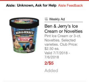 graphic relating to Ice Cream Coupons Printable titled Ben Jerrys Ice Product Slices $.50 and Pints $1.50 With